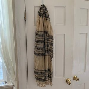 Madewell Cream and Black Striped Patterned Scarf